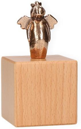 Bronzefigur Dein fürstlicher Beschützer auf Würfel aus Holz mit Wandaufhängung