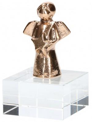 Bronzefigur auf Glassockel Engel mit Stern