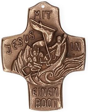 Kommunionkreuz aus Bronze Mit Jesus in einem Boot
