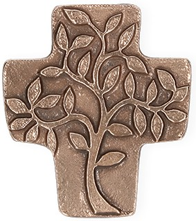 Symbolkreuz aus Bronze Lebensbaum
