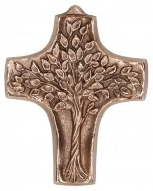 Kommunionkreuz aus Bronze - Lebensbaum