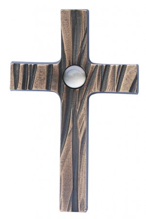 Bronzekreuz mit weißem Bergkristall