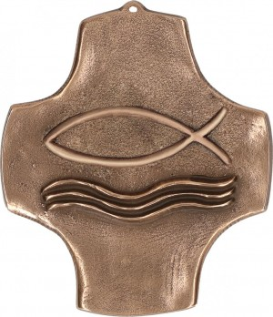Symbolkreuz Fisch aus Bronze