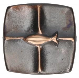 Kreuzplakette aus Bronze Fisch