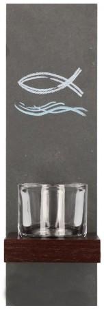 Schieferstele mit Glaseinsatz Fisch und Wellen