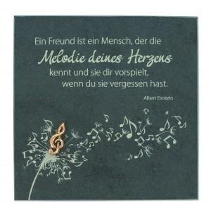 Schieferrelief Melodie des Herzens - mit Notenschlüssel aus Bronze