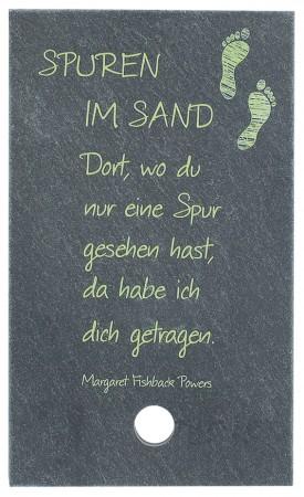 SchieferMoment Spuren im Sand - mit Holzstab zum Aufstellen