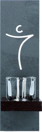 Schieferstele mit Glaseinsatz Christus