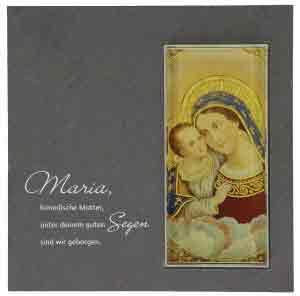 Schiefertafel mit Glaseinsatz - Maria mit Kind