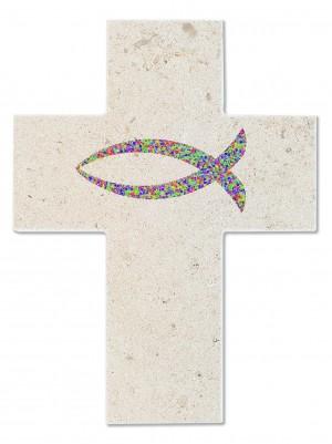 Natursteinkreuz Fisch