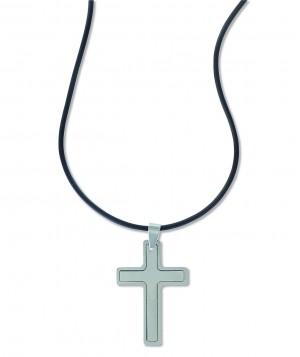 Edelstahl-Anhänger Kreuz an  Kautschukband