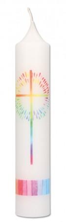 Taufkerze mit Druckmotiv Regenbogenkreuz