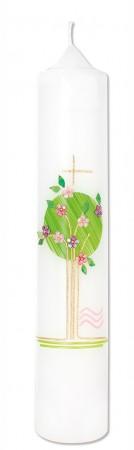 Taufkerze Lebensbaum in Rosa
