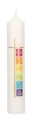 Taufkerze mit Wachsmotiv Kreuz und christliche Symbole in Gold
