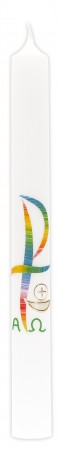 Kommunionkerze mit Wachsmotiv PX in Regenbogenfarben, Kelch in Gold