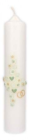 Hochzeitskerze mit Wachsmotiv Kreuz mit Herzen und Blumen, Ringe in Gold