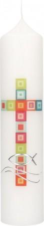Taufkerze mit Druckmotiv und aufgelegtem Wachsmotiv Kreuz aus Quadraten mit Fisch und Wellen in Silber