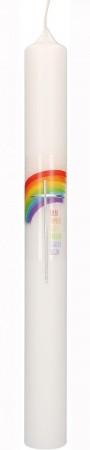 Taufkerze mit Druckmotiv und aufgelegtem Wachsmotiv Regenbogen mit Kreuz in Silber