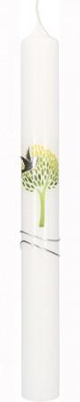 Kommunionkerze mit druckmotiv und aufgelegtem Wachsmotiv Lebensbaum mit Taube und Wellen in Silber