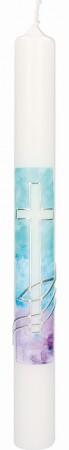 Taufkerze mit Wachsmotiv Kreuz mit Fisch und Wellen in Silber