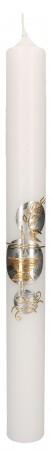Kommunionkerze mit Wachsmotiv Kreuz, Kelch, Ähre und Fisch in Gold und Silber