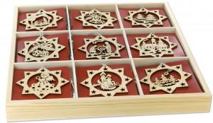 Holzdose mit 54 Sternanhängern