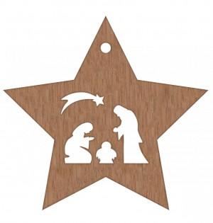 Stern aus Feinholz mit Hanfband zum Aufhängen