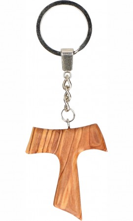 Schlüsselanhänger Taukreuz aus Olivenholz