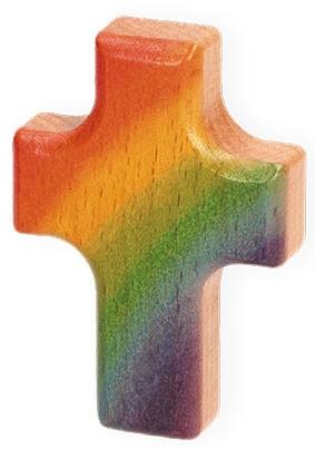 Handschmeichler Regenbogen-Kreuz aus Holz