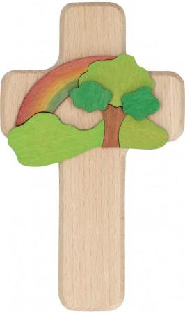 Intarsienholzkreuz Baum