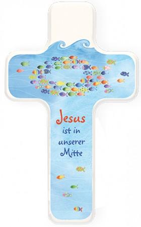Kinderholzkreuz Jesus ist in unserer Mitte