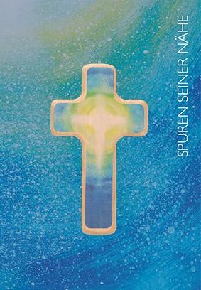 Klappkarte mit Holzkreuz Kreuz