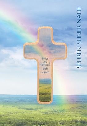 Klappkarte mit Holzkreuz Möge der Himmel dich segnen