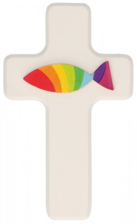 Kinderholzkreuz Regenbogenfisch