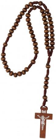 Rosenkranz mit dunkelbraunen Holzperlen