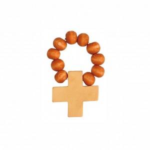 Finger-Rosenkranz mit braunen Holzperlen