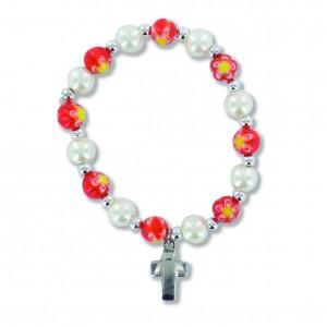 Armband mit Kunststoffperlen - rot-weiß