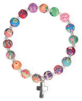 Kunststoff-Armband mit bunten Perlen