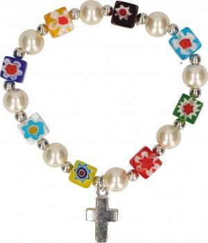 Millefiori-Armband mit würfelförmigen Perlen