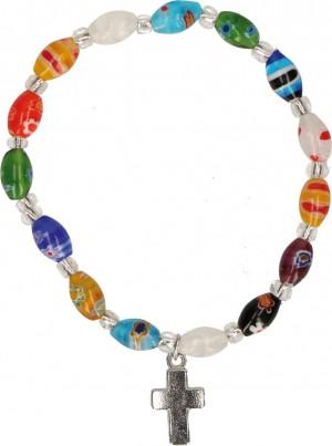 Millefiori-Armband mit ovalen Perlen