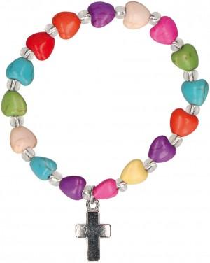 Armband aus bunten Edelsteinperlen mit Kreuz-Anhänger