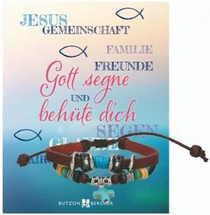 Leder-Armband - Gott segne und behüte dich