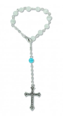 10er-Rosenkranz mit Glasperlen - weiß