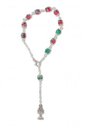 10er-Rosenkranz mit Kunststoffperlen - rot-grün