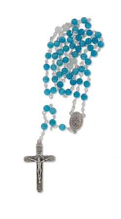 Rosenkranz mit Glasperlen - blau