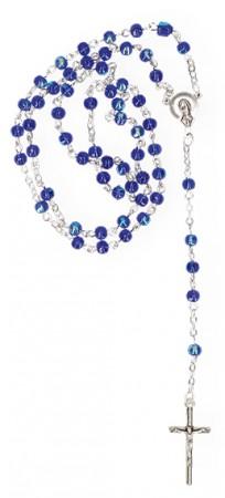 Rosenkranz mit dunkelblauen schillernden Glasperlen