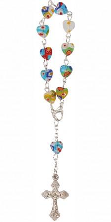 10er Rosenkranz mit Millefiori-Perlen in Herzform