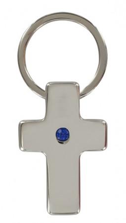 Schlüsselanhänger Kreuz mit blauem Steinchen