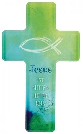 Kinderkreuz Jesus ist mitten unter uns aus Acrylglas