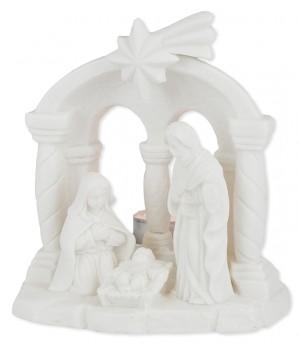 Porzellan-Figur Krippe - mit Teelicht
